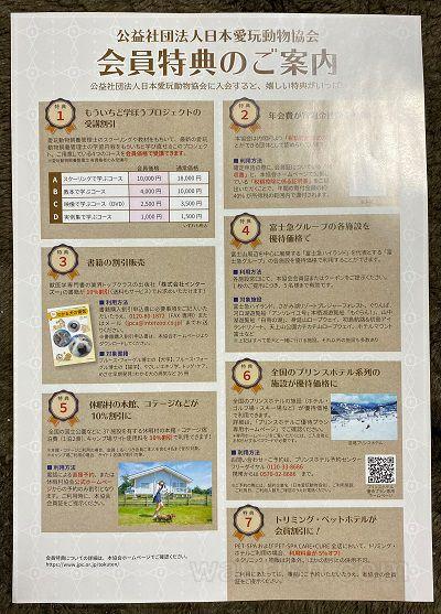 日本愛玩動物協会の会員特典について